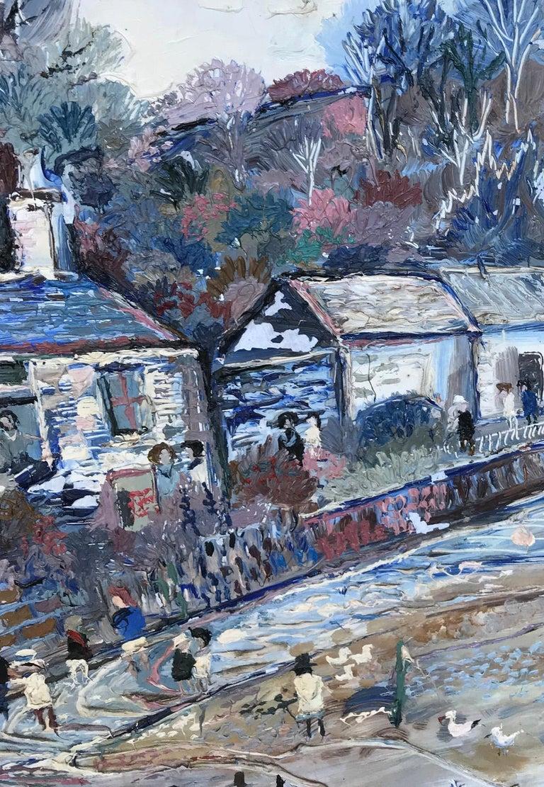 Fred Yates Cornish Village Scene, Oil on Board For Sale 2