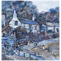 Fred Yates Cornish Village Scene, Oil on Board