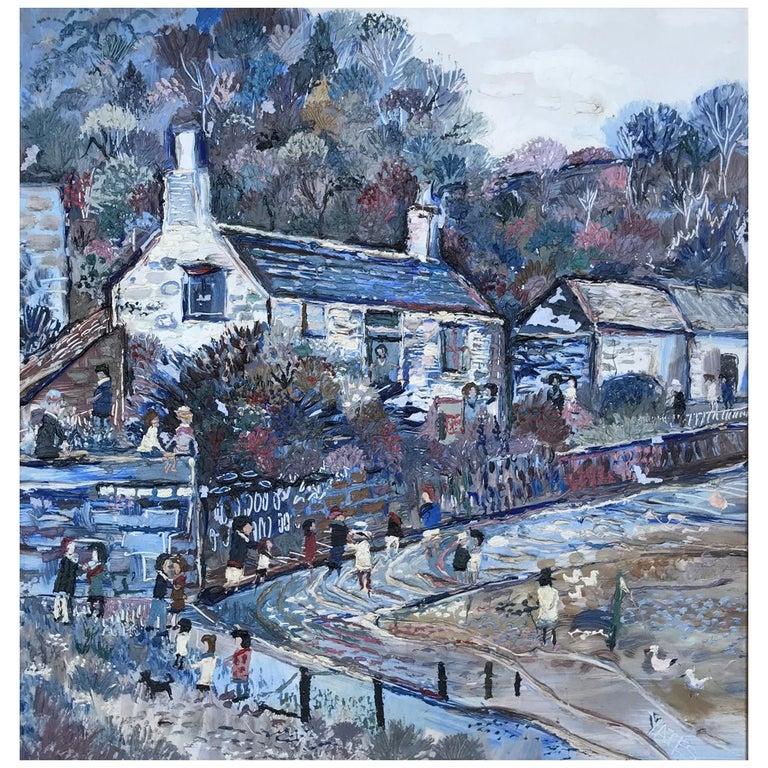 Fred Yates Cornish Village Scene, Oil on Board For Sale