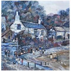 Fred Yates English Artist Oil on Board Cornish Village Scene