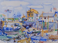 Falmouth Harbour, English 20th Century seascape / landscape by Fred Yates