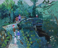 On the Bridge A Landscape with figures Modern 20th Century