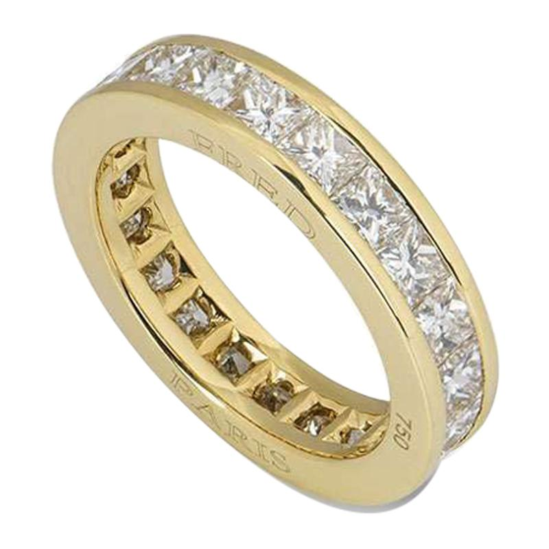 Fred Yellow Gold Diamond Eternity Wedding Band Ring
