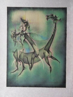 Surrealist Horse and Rider - Handsigned lithograph