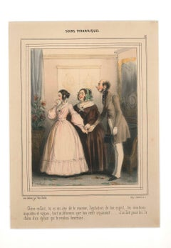 Soins Tyranniques - Original Lithograph and Pochoir by F. Bouchot - Mid 1800