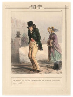 Trop-Tôt - Original Lithograph and Pochoir by F. Bouchot - First Half of 1800