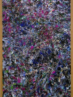 Le Loubinou 3 / contemporary violet and silver abstract painting