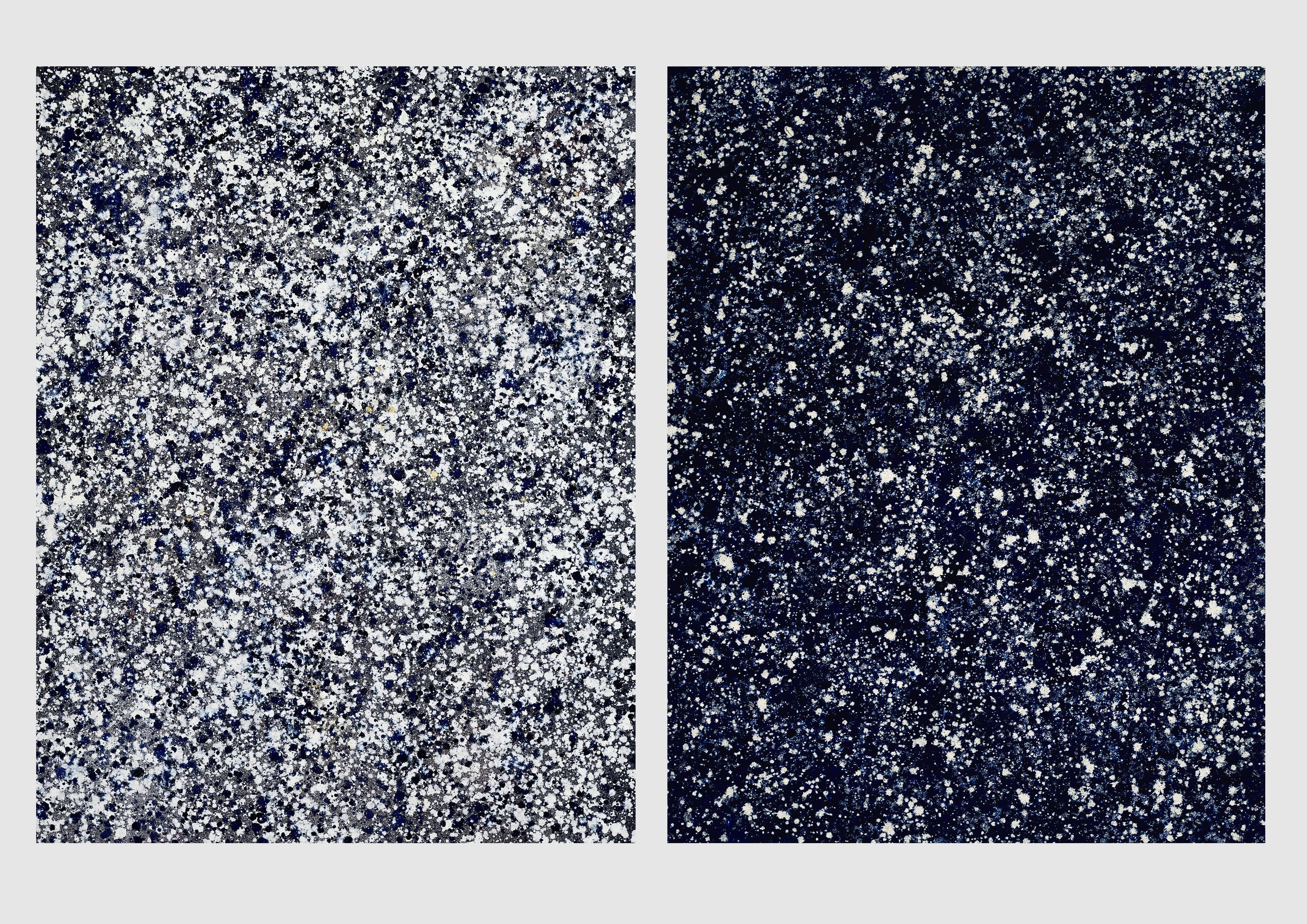 Snow Falling at Twilight - Tombe Du Ciel I & II / Diptych - Oil on Linen