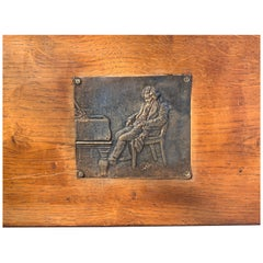 Frederic Chopin Bronze Plaque on Wood, Signed