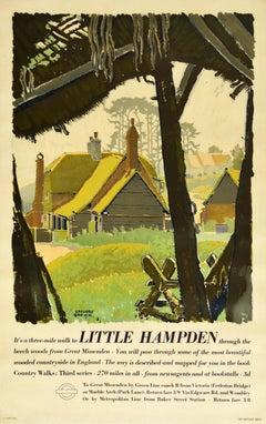 Original Vintage London Transport Poster Little Hampden Woods Countryside Walks