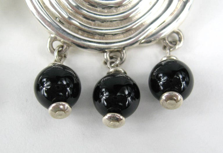FREDERIC JEAN DUCLOS ON WAX Hand Signed Sterling Silver Dangle Earrings New 90s In Good Condition For Sale In Wallkill, NY