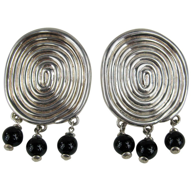 FREDERIC JEAN DUCLOS ON WAX Hand Signed Sterling Silver Dangle Earrings New 90s For Sale