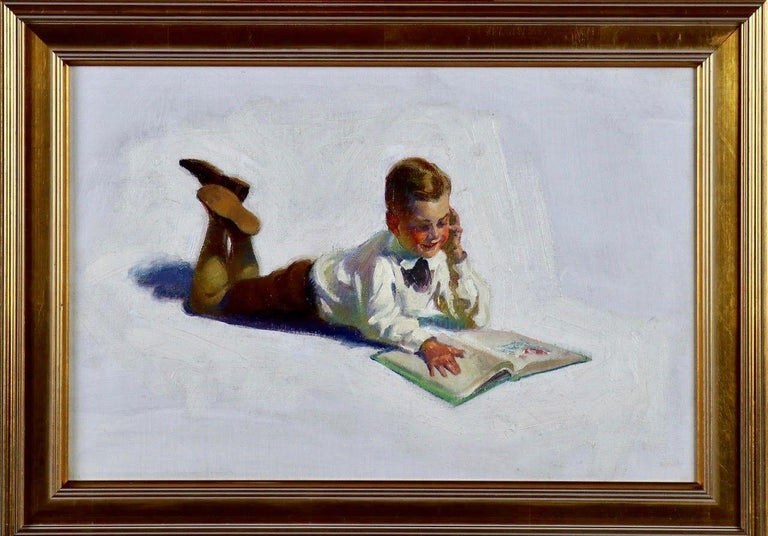 Boy Reading - Painting by FREDERIC KIMBALL MIZEN