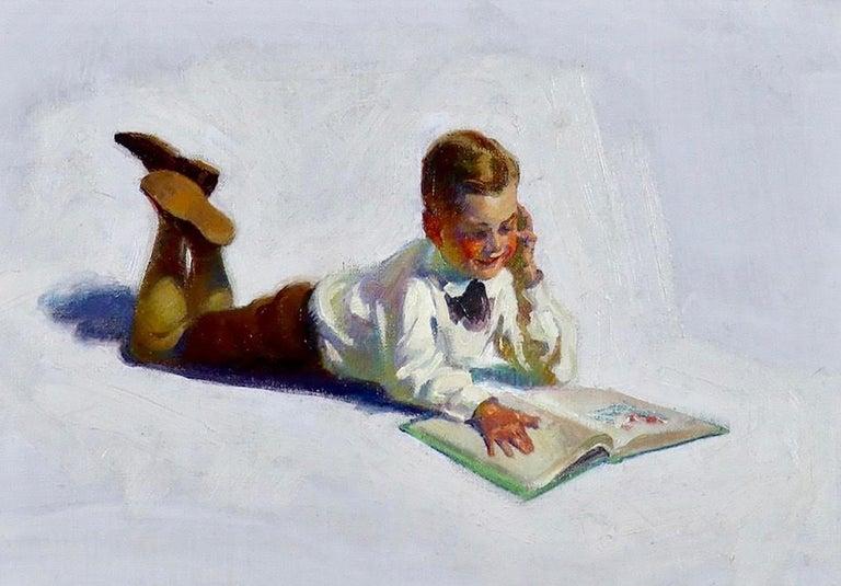 FREDERIC KIMBALL MIZEN Figurative Painting - Boy Reading