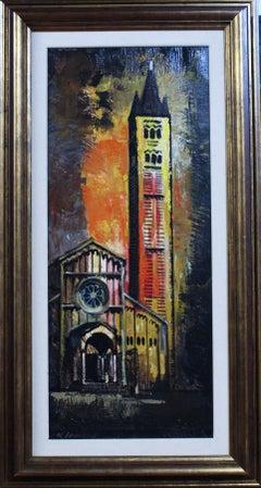 Basilica original meo expressionist acrylic painting