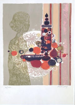 Woman with Fruits - Original Lithograph Handsigned Numbered