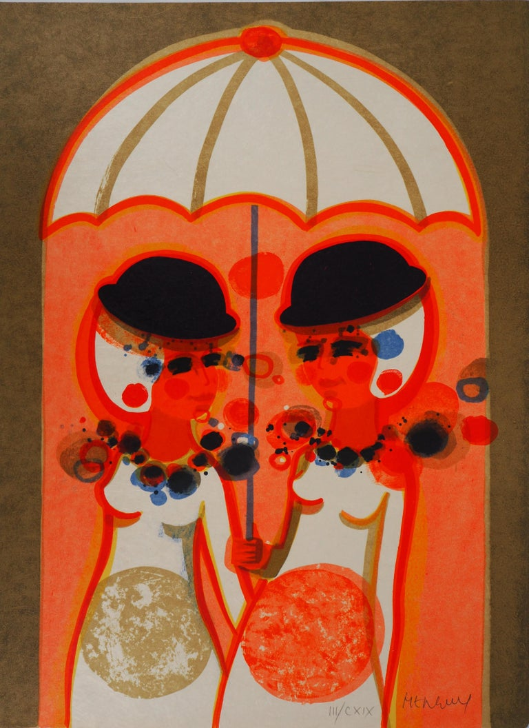 Women with an Umbrella - Original Liithograph, Hand Signed - Modern Print by Frederic Menguy