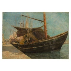 """Frederic Montenard 'French', """"Fishing Boats in a Harbor"""" Painting"""