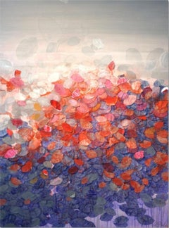 Balian Reef by F. Paul Red Flower, abstract, textured oil and acrylics painting