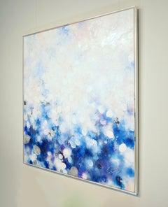 Fleur Blanche - abstract art, contemporary art, 21st C, modern art, flower, blue
