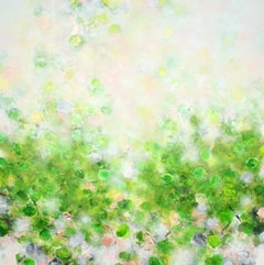 Forest Glade - abstract art, contemporary art, modern, green, rose, Nature, 21st
