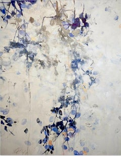 Morning Leaves by F. Paul - Contemporary floral abstract, blue & white painting