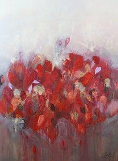 Nana Bangkok - Red Flower, abstract, textured oil and acrylics painting