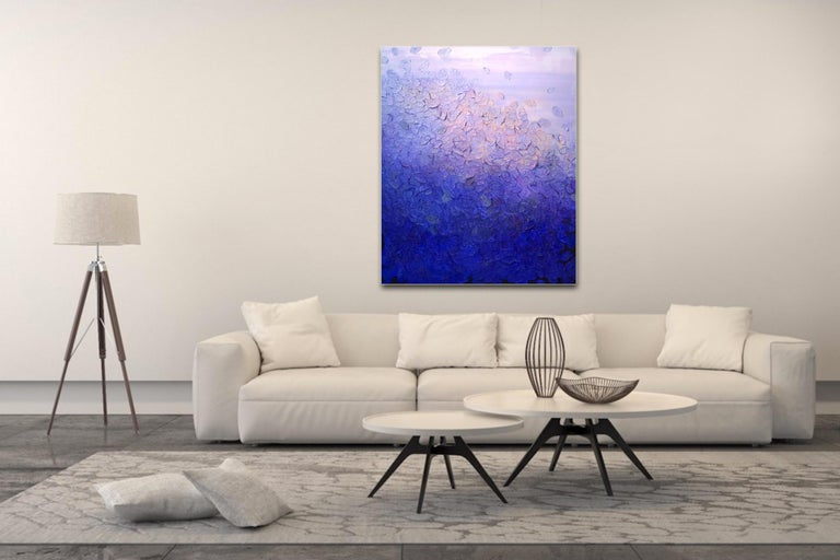 Ultramarine Blaze by Frederic Paul, Textured Purple Modern Contemporary Painting For Sale 2