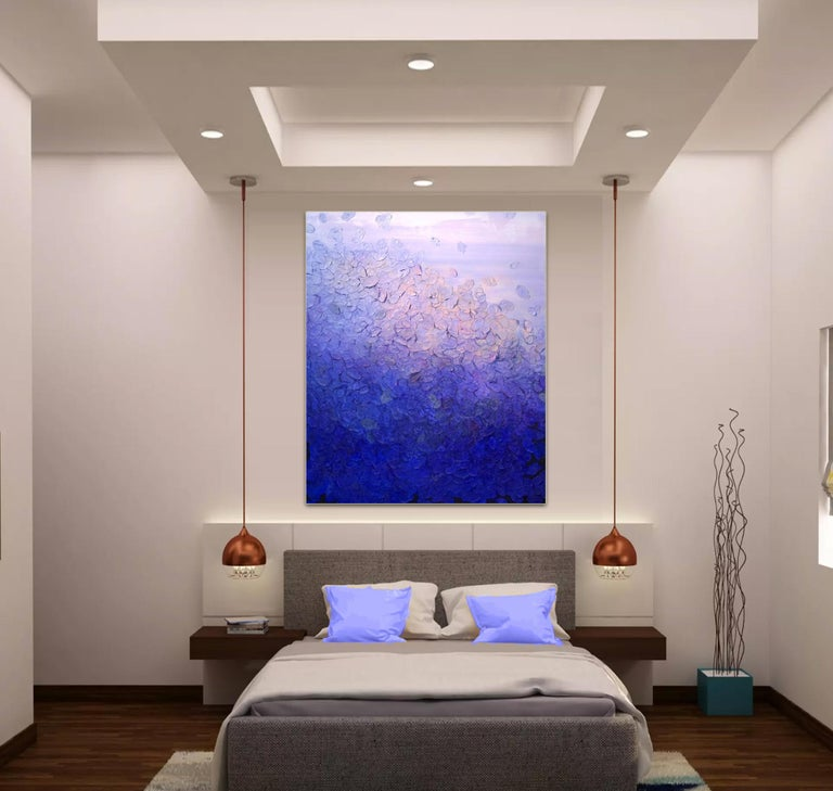 Ultramarine Blaze by Frederic Paul, Textured Purple Modern Contemporary Painting For Sale 3