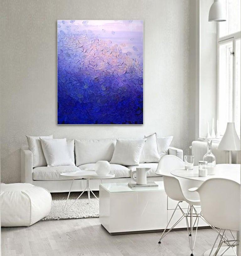 Ultramarine Blaze by Frederic Paul, Textured Purple Modern Contemporary Painting For Sale 4