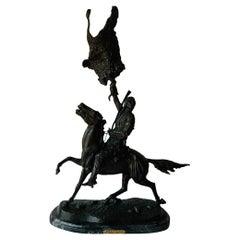 Frederic Remington Buffalo Signal Native American Riding a Horse Sculpture
