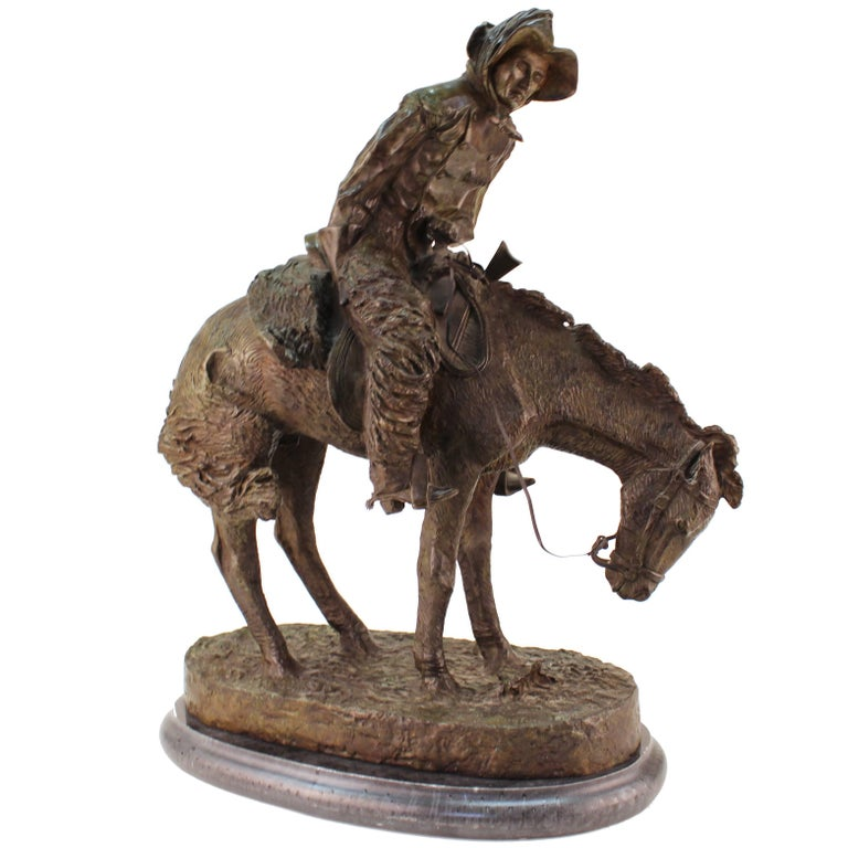 """Frederic Remington """"Norther"""" Bronze Sculpture For Sale"""
