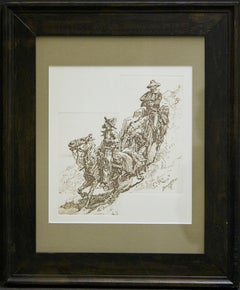 (Title Unknown) Framed, Embossed Print. Plate-Signed by the Artist