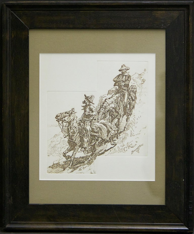 Frederic Remington Portrait Print - (Title Unknown) Framed, Embossed Print. Plate-Signed by the Artist