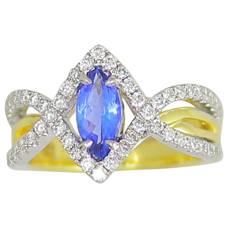 Frederic Sage 0.69 Carat Marqi Tanzanite Diamond One of Kind Ring For Sale