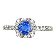 Frederic Sage 0.90 Carat Sapphire White Diamond Cocktail Engagement Bridal Ring