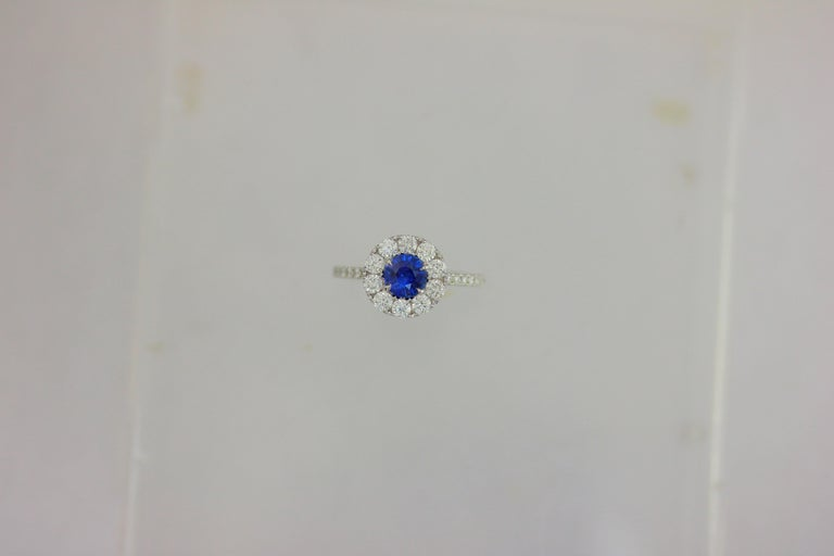 Round Cut Frederic Sage 0.91 Carat Round Sapphire Diamond Engagement Bridal Cocktail Ring For Sale