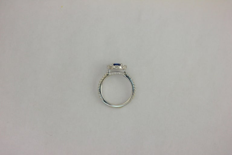 Frederic Sage 0.91 Carat Round Sapphire Diamond Engagement Bridal Cocktail Ring In New Condition For Sale In New York, NY