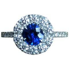 Frederic Sage 0.91 Carat Round Sapphire and Diamond Ring