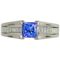 Frederic Sage 1.17 Carat Tanzanite White Diamond Cocktail Engagement Bridal Ring
