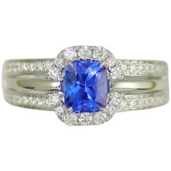 Frederic Sage 1.35 Carat Tanzanite Diamond Bridal Engagement Cocktail Ring