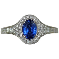 Frederic Sage 1.42 Carat Oval Sapphire White Diamond Engagement Bridal Ring