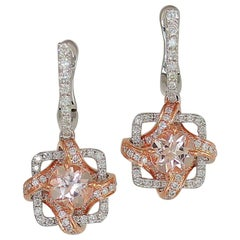 Frederic Sage 1.51 Carat Morganite and Diamond One of Kind Earrings