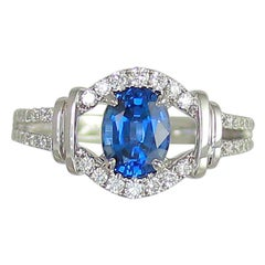 Frederic Sage 1.63 Carat Sapphire and White Diamond Engagement Cocktail Ring