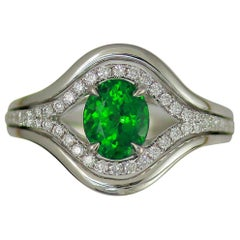 Frederic Sage 1.63 Carat Tsavorite and White Diamond Engagement Cocktail Ring