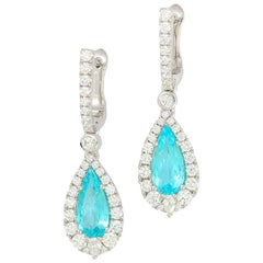"Frederic Sage 1.70 Carat Neon ""Paraiba"" Tourmaline Diamond One of Kind Earrings"