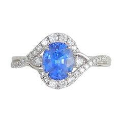 Frederic Sage 1.72 Carat Sapphire and Diamond Platinum Engagement Bridal Ring