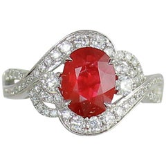 Frederic Sage 2.30 Carat Oval Ruby Diamond Engagement Cocktail Ring