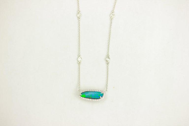 Contemporary Frederic Sage 2.31 Carat Black Opal & Diamond  Pendant Necklace For Sale