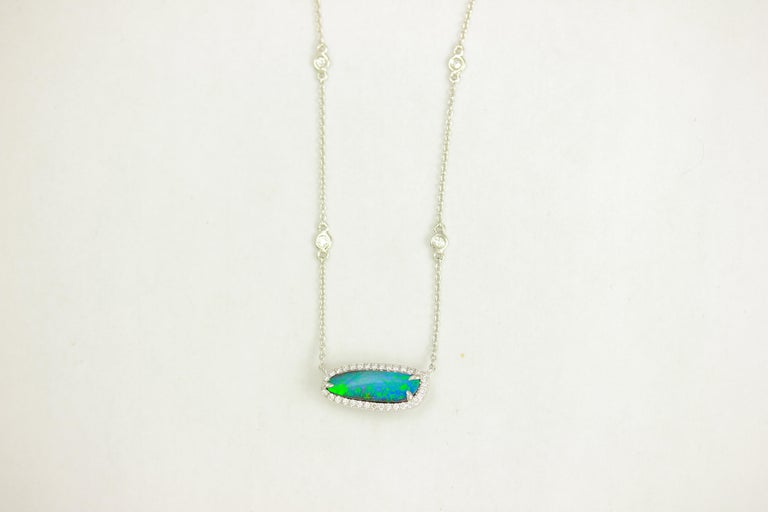 Frederic Sage 2.31 Carat Black Opal & Diamond  Pendant Necklace In New Condition For Sale In New York, NY